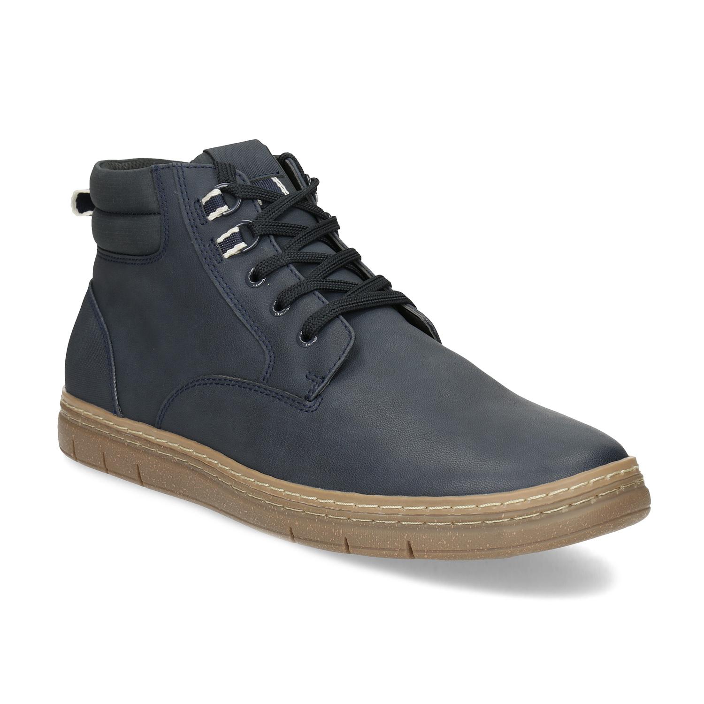 Pánská kotníčková obuv modrá s hnědou podešví