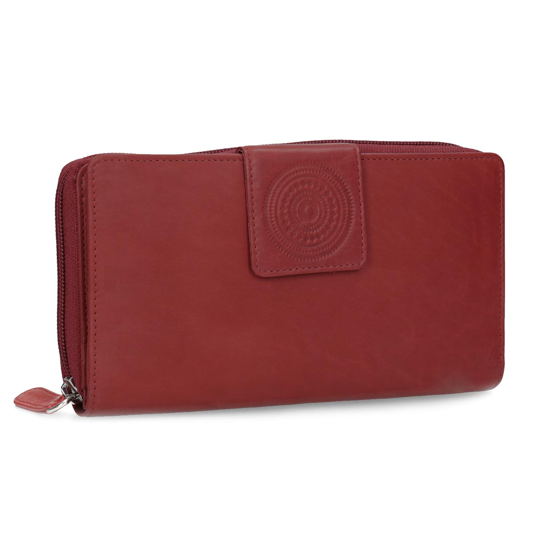 Kožená dámska červená peňaženka s mandalou