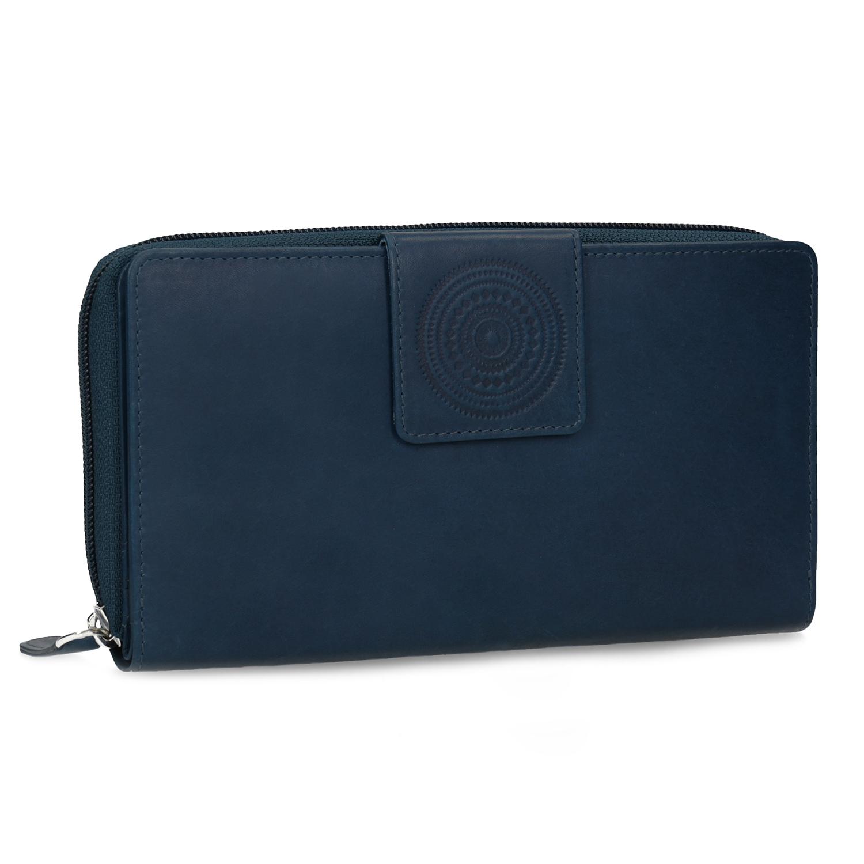 Kožená dámská peněženka s mandalou modrá