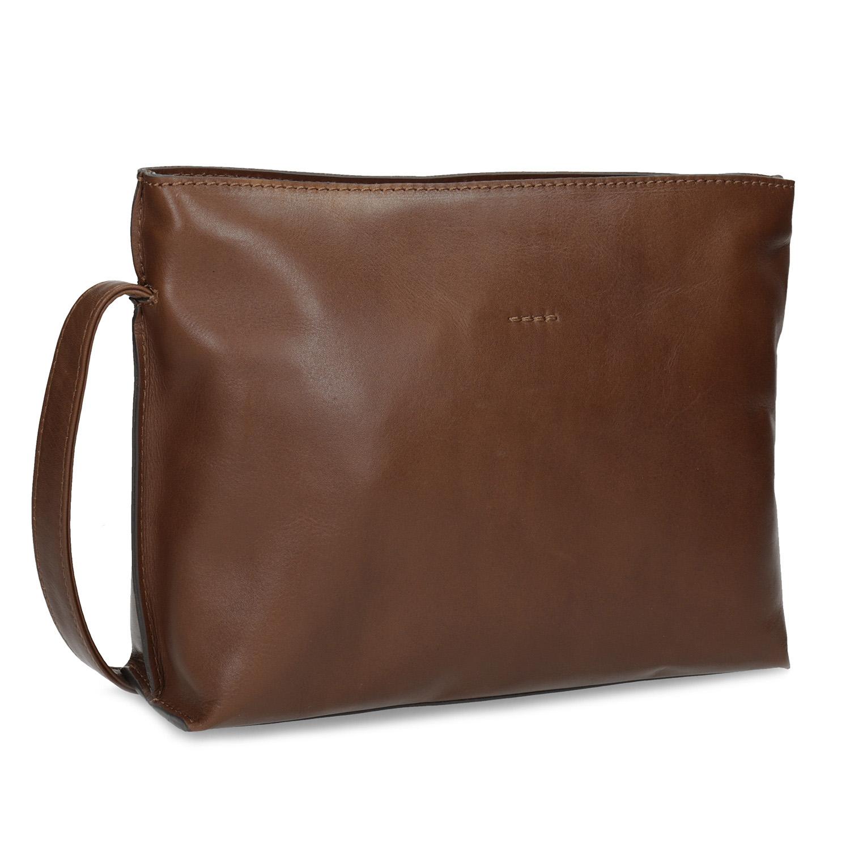 Kožená hnedá crossbody kabelka