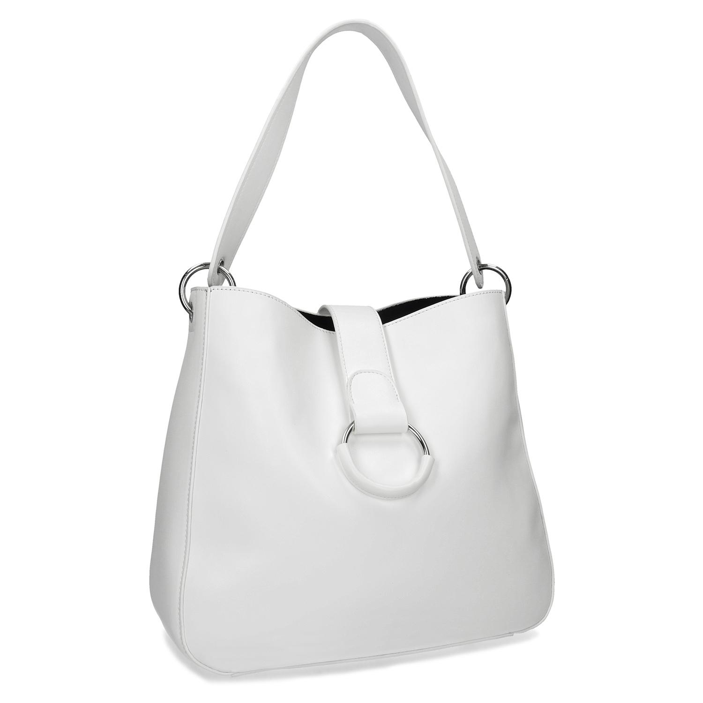 Bílá kabelka s kulatou sponou