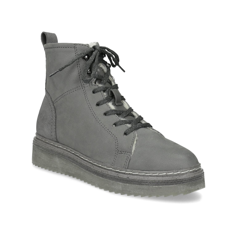 Členková dámska kožená zimná obuv