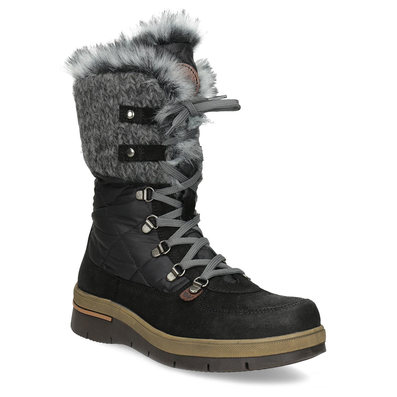 Dámská černá zimní obuv s kožíškem