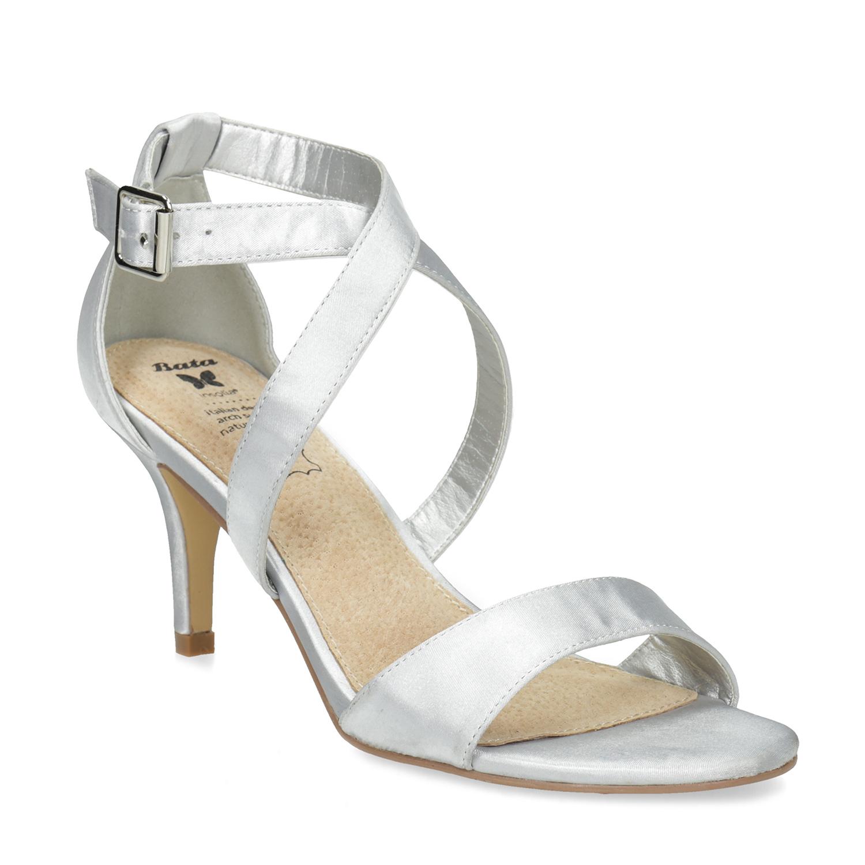 Strieborné sandále na ihličkovom podpätku