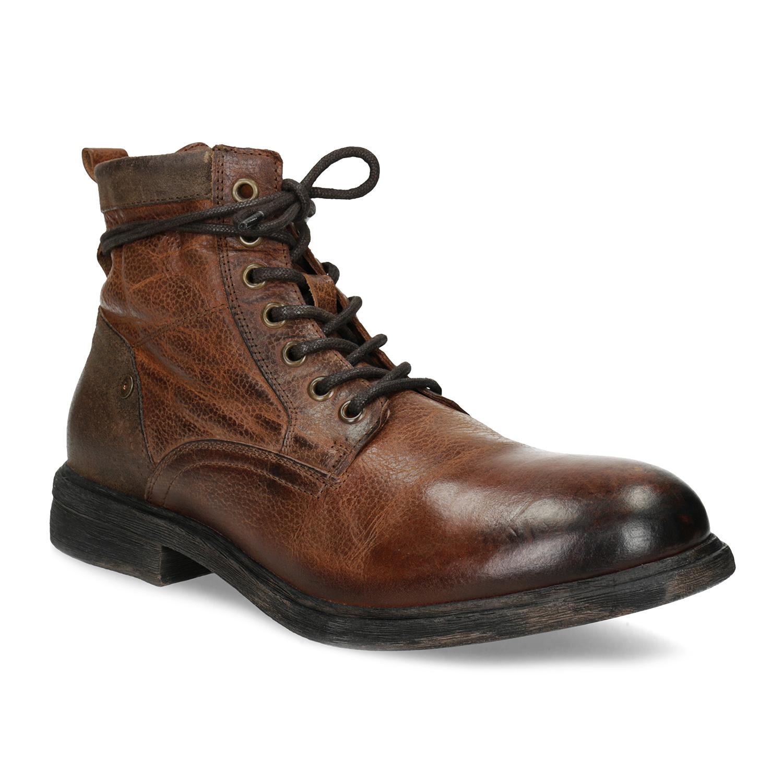 Kožená pánska hnedá členková obuv