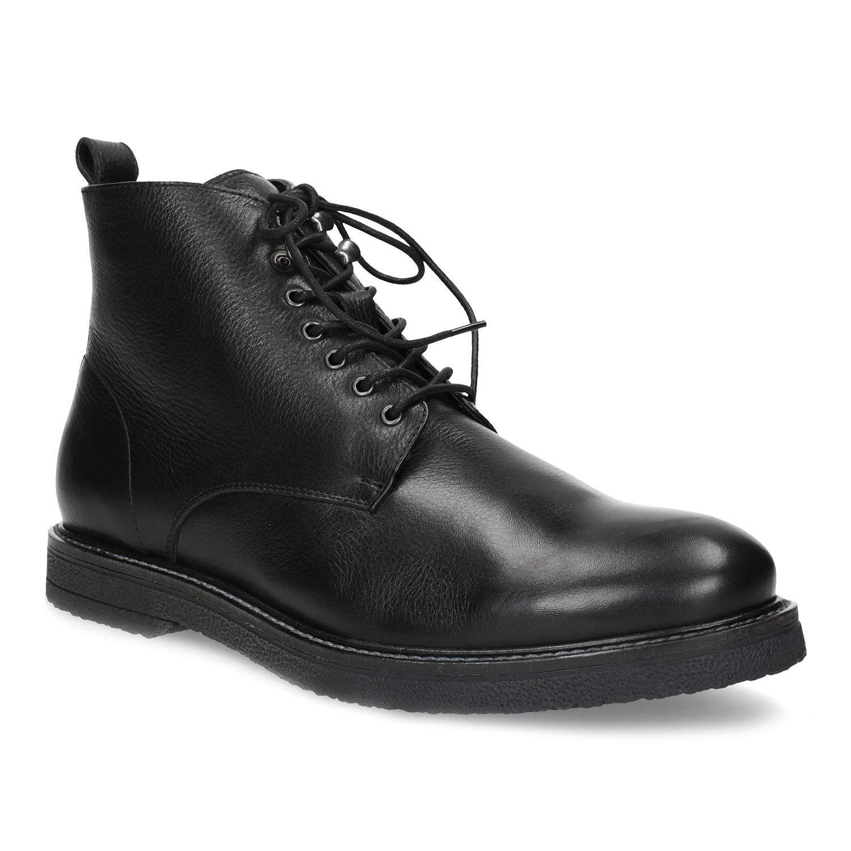 Čierna kožená členková pánska obuv