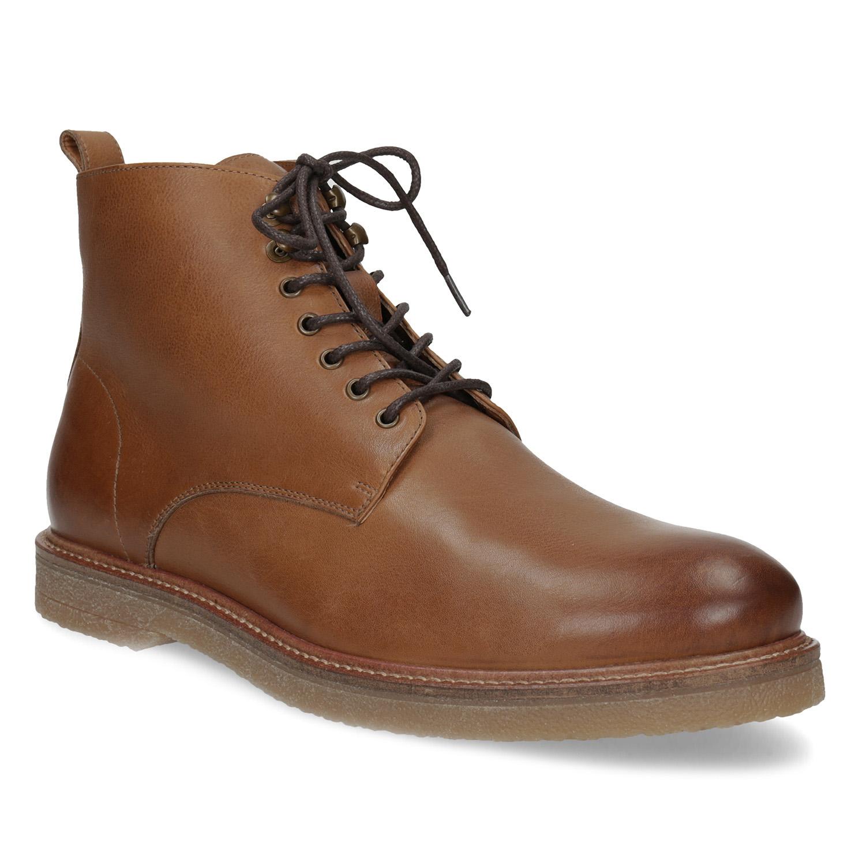 Hnědá kožená kotníčková pánská obuv e0837a3f55d