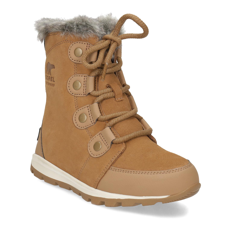 Kožená dětská zimní obuv s kožíškem
