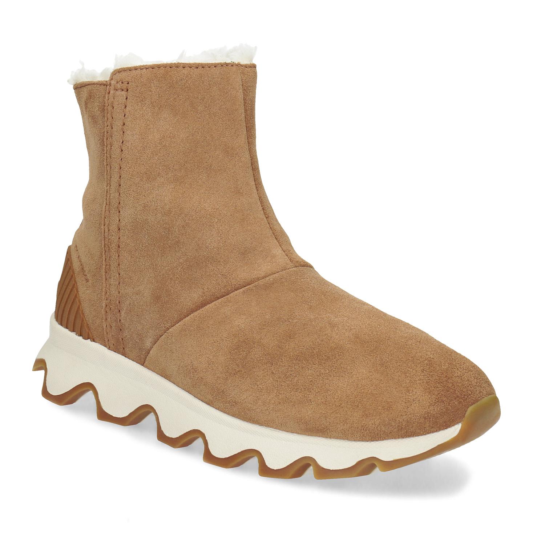 Kožená hnědá dámská zimní obuv