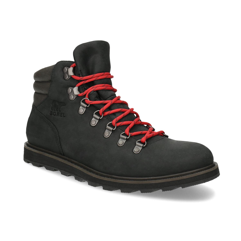 Pánská kožená zimní obuv s červenými tkaničkami