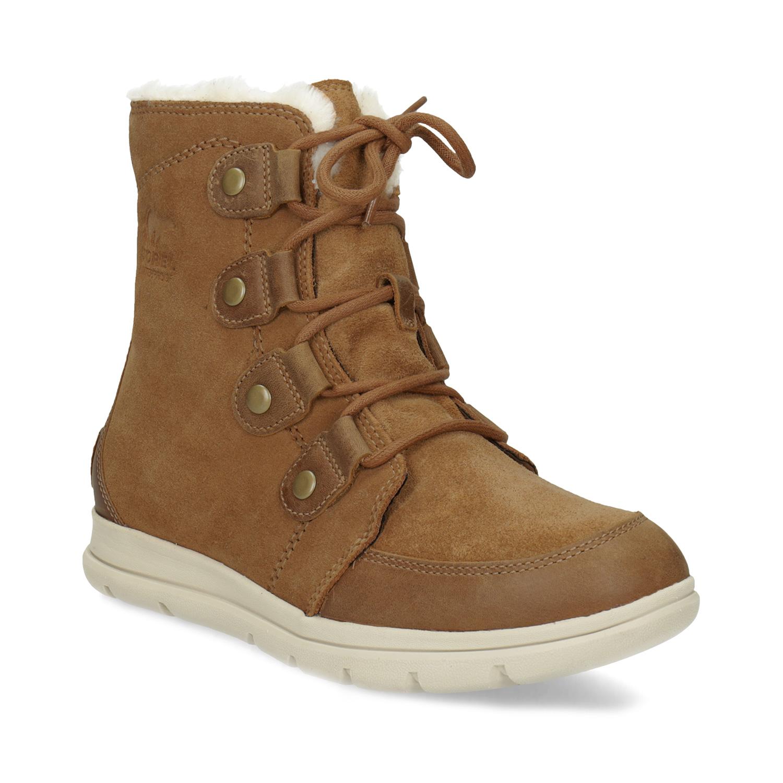 Dámská kožená zimní obuv se šněrováním