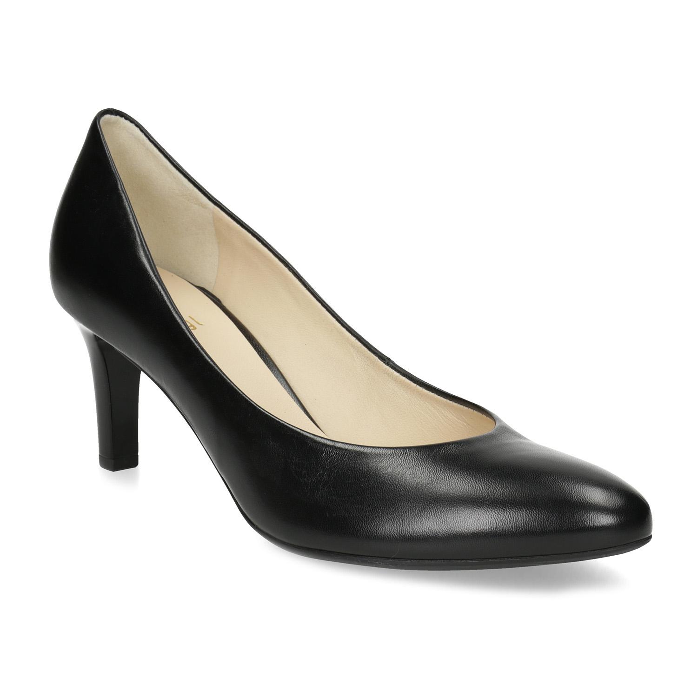 Čierne kožené dámske lodičky