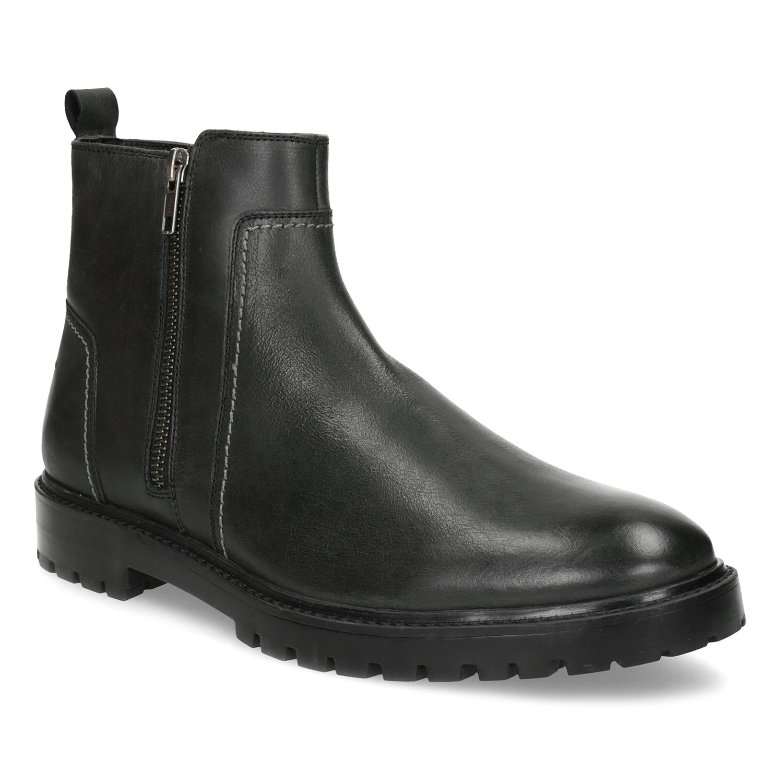 Zimní pánská kotníčková obuv černá