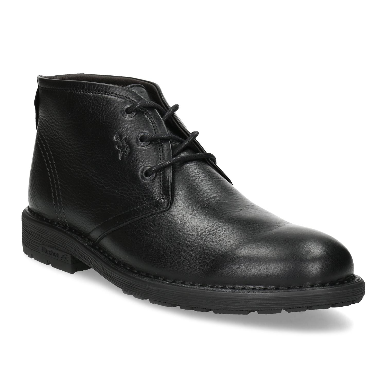 Zimní kotníčková pánská obuv kožená černá