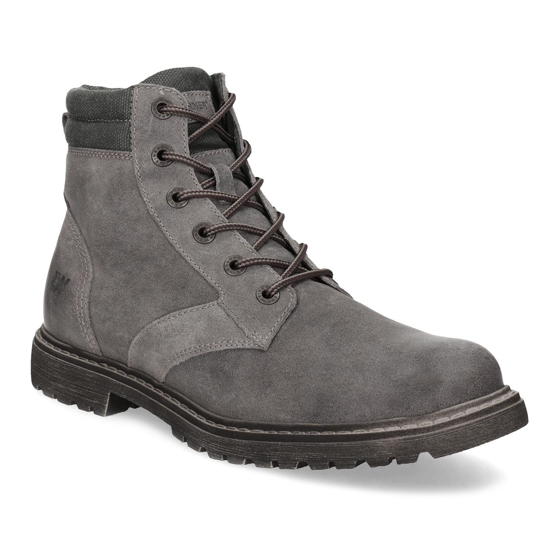 Pánska šedá kožená členková obuv