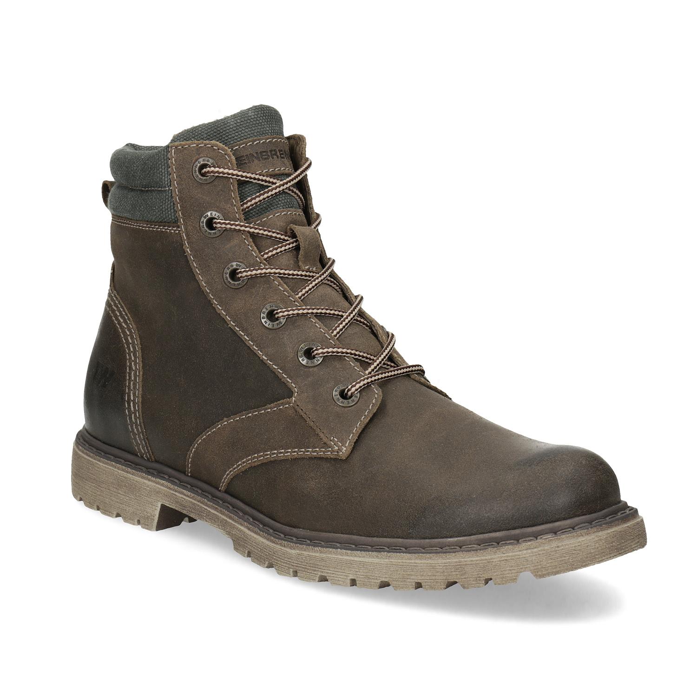 Hnědá kožená pánská zimní obuv