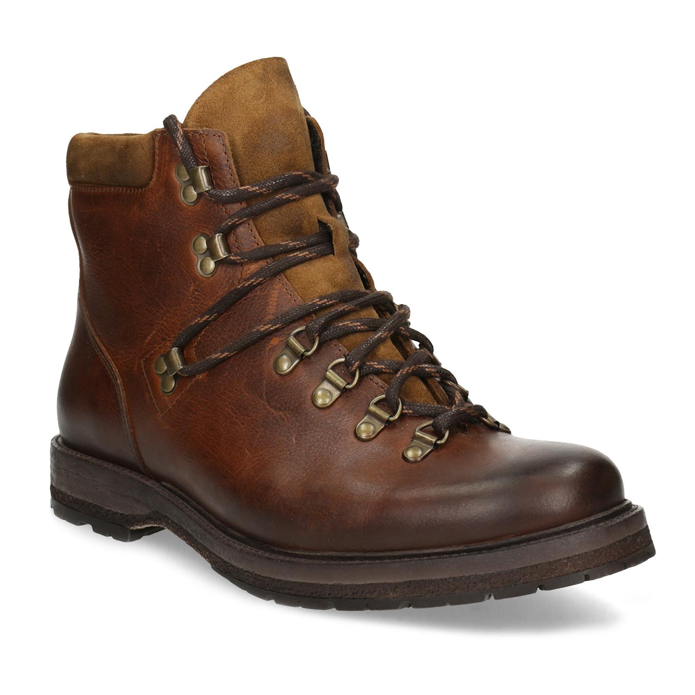 Kožená pánská kotníčková zimní obuv