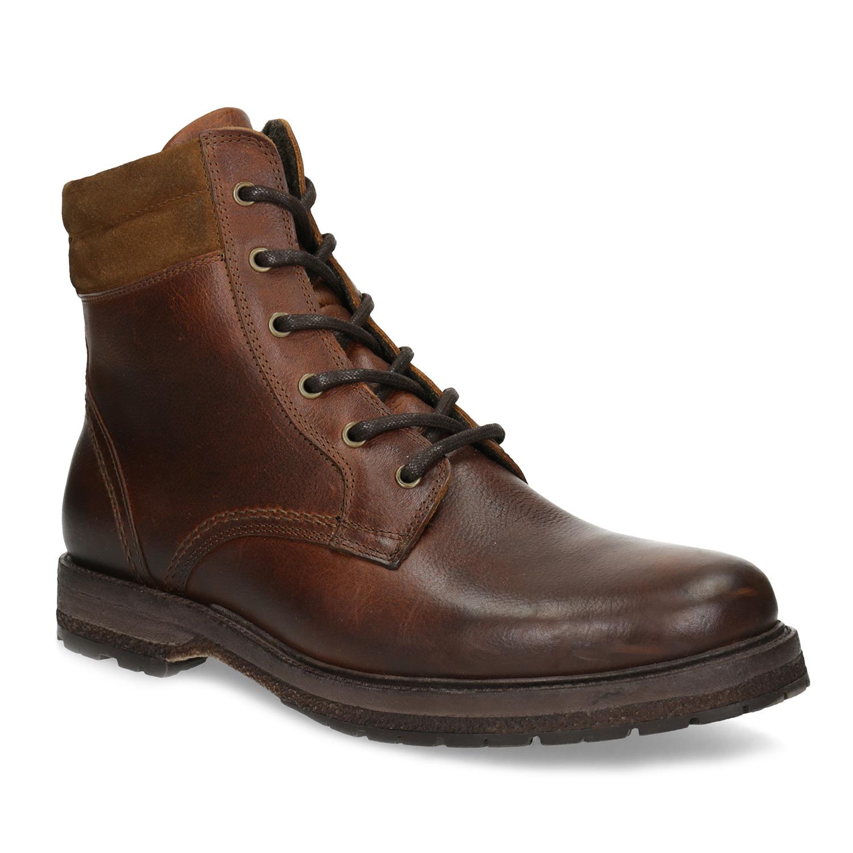 Hnědá pánská kožená zimní obuv