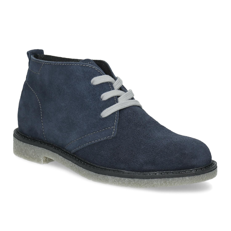 Modrá dětská kožená kotníčková obuv