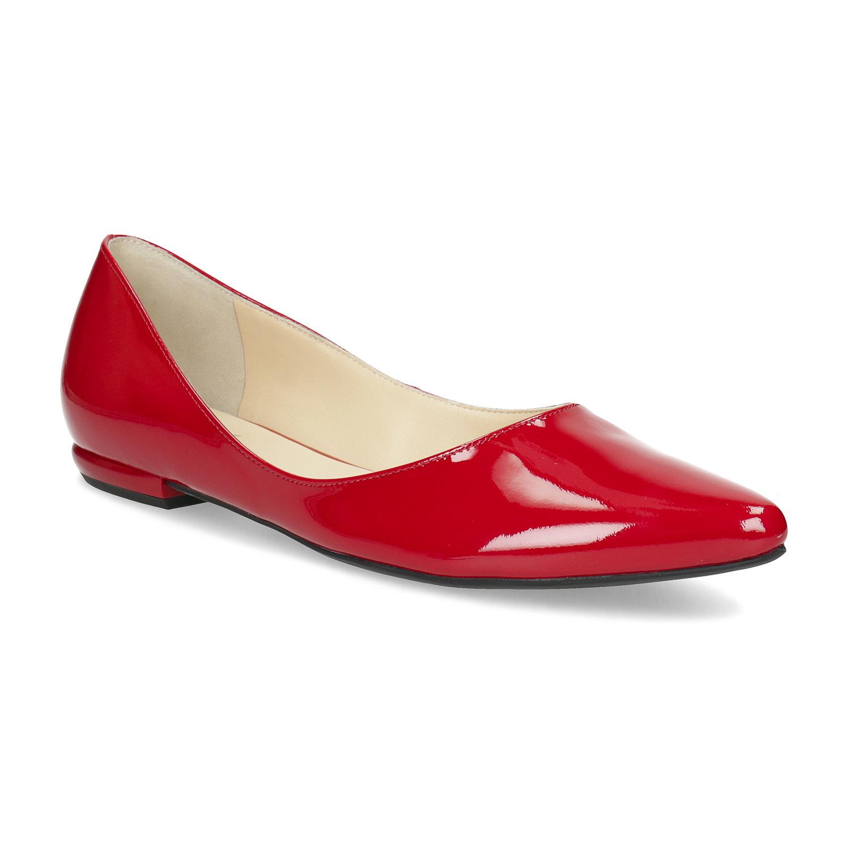 Červené kožené dámské baleríny s lakováním