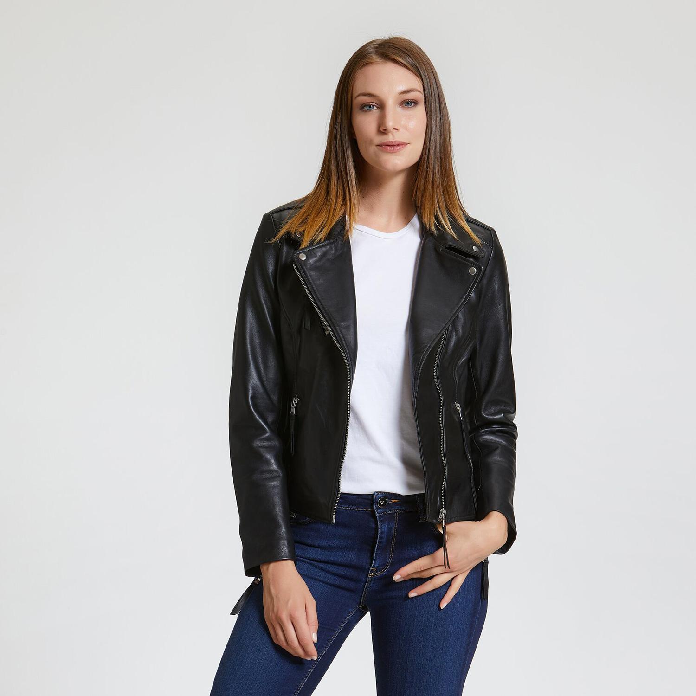 Černá dámská kožená bunda ve stylu křivák