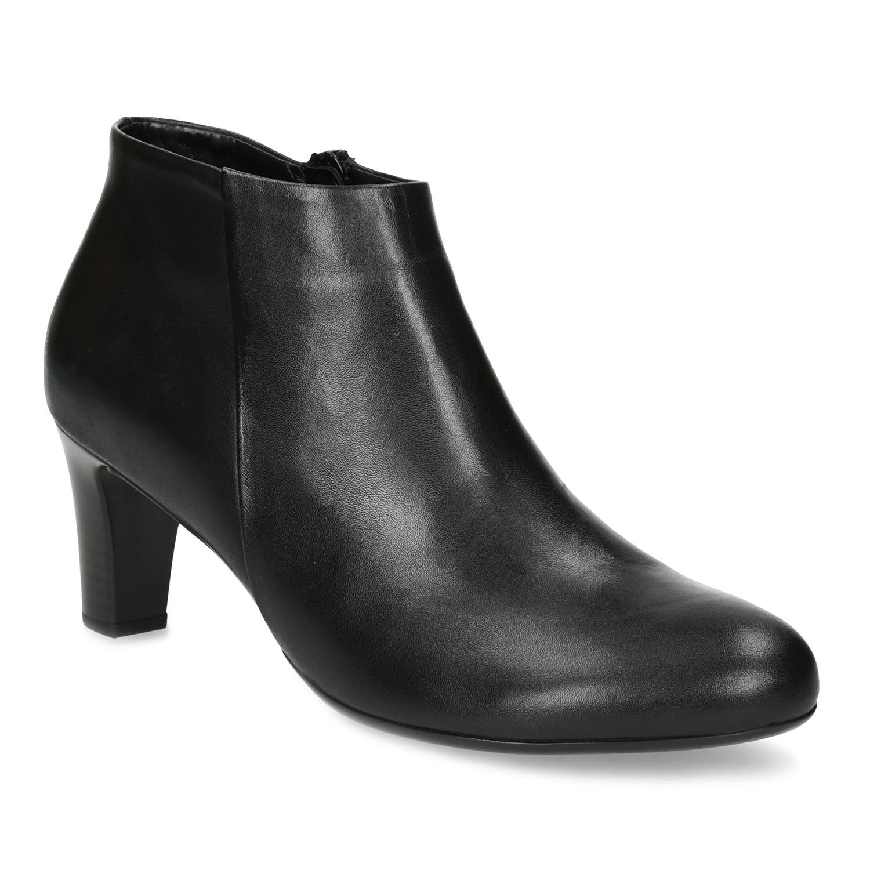 Dámská černá kotníčková obuv na podpatku