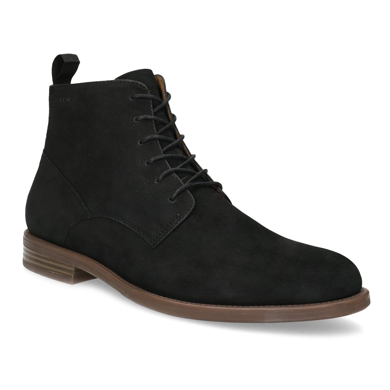 Pánska čierno-hnedá kožená členková obuv