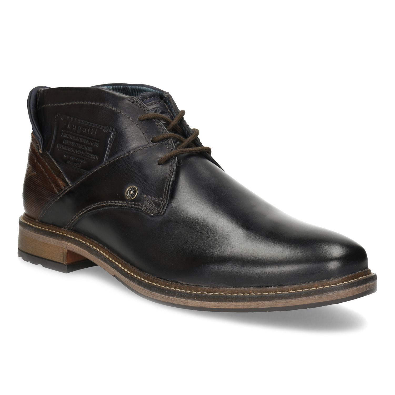 Pánská kotníčková obuv kožená modrá