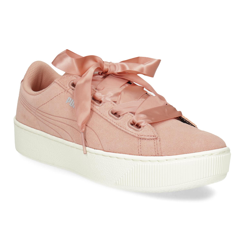 Dámské kožené tenisky s mašlí růžové f20a831913b