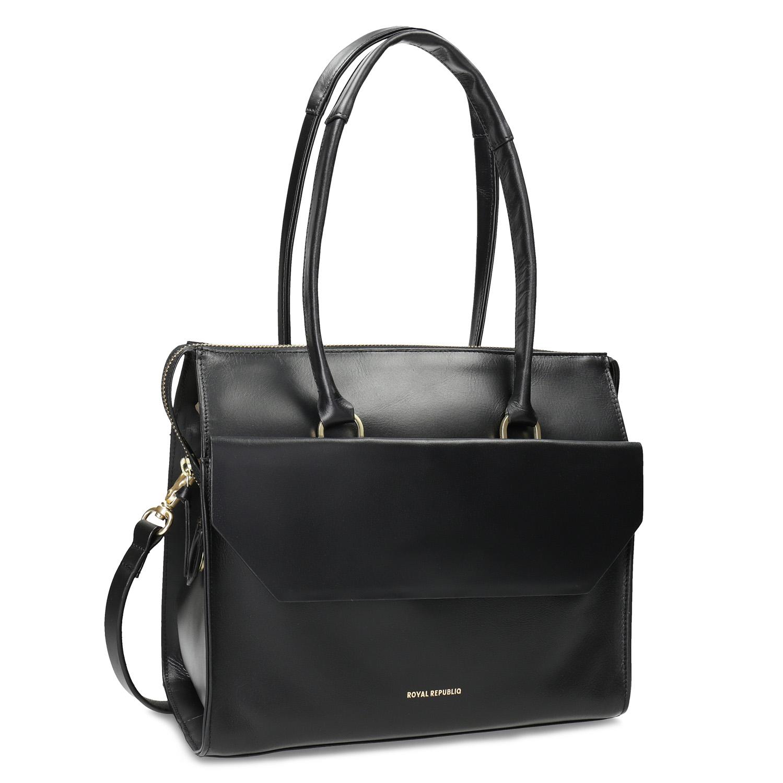 Dámská černá kožená kabelka se zlatými detaily