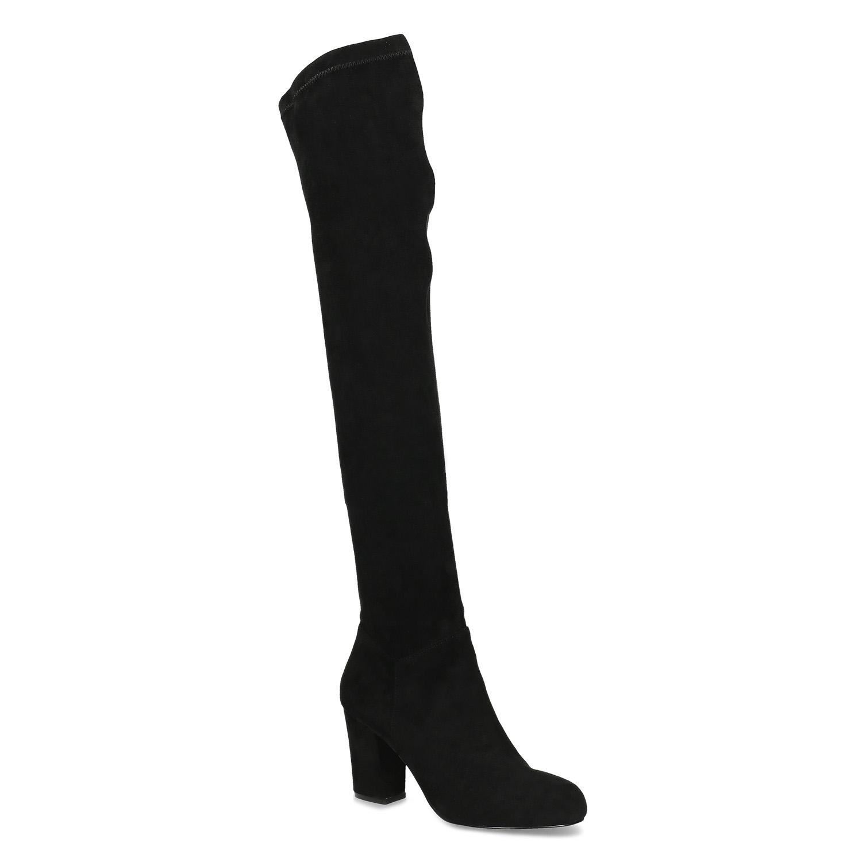 Černé dámské kozačky nad kolena