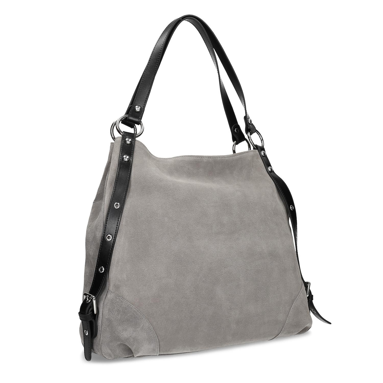 Šedá kabelka z broušené kůže 2ae0252e1fe