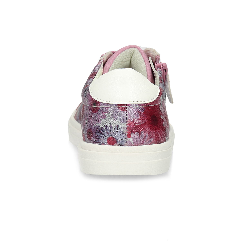 Růžové dětské tenisky s květinovým potiskem