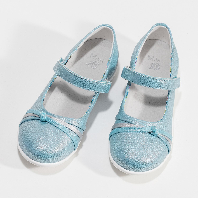 Modré dětské baleríny s ozdobnými pásky