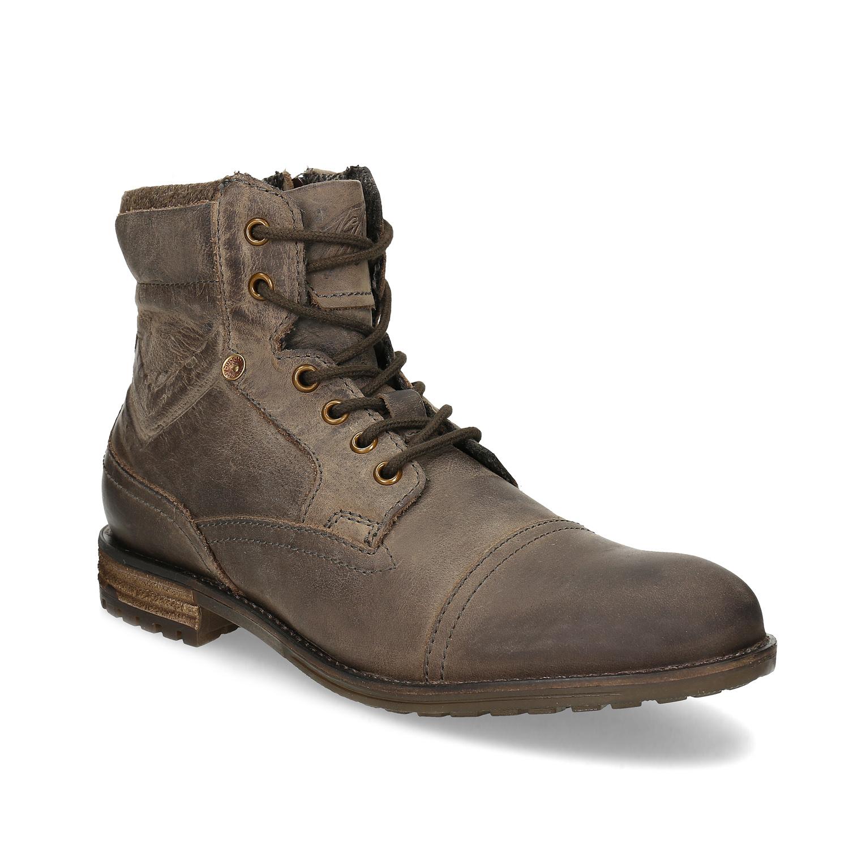 Hnedá kožená členková pánska obuv