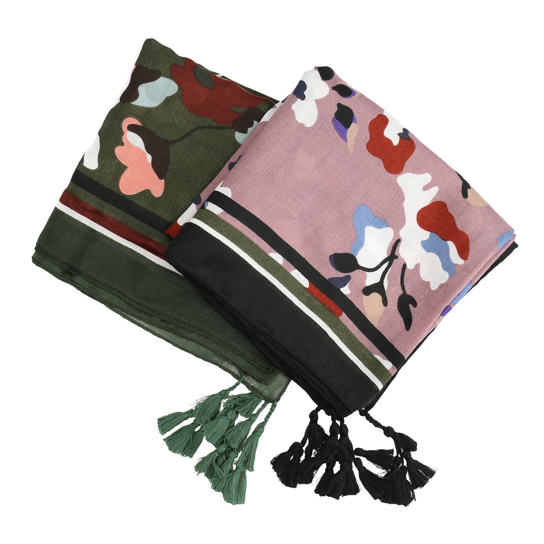 Dámský šátek se vzorem a střapci