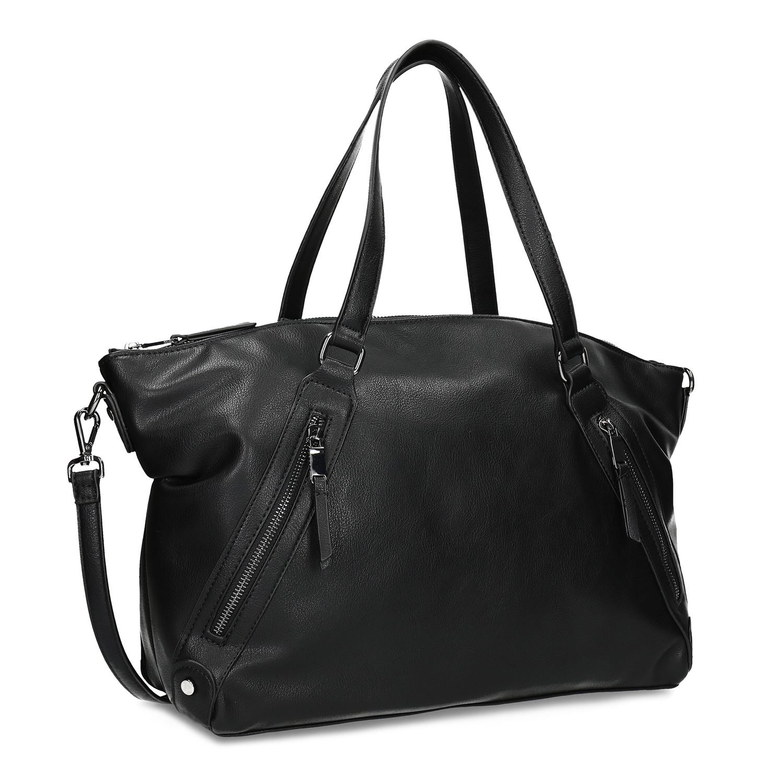 Černá dámská kabelka se zipy