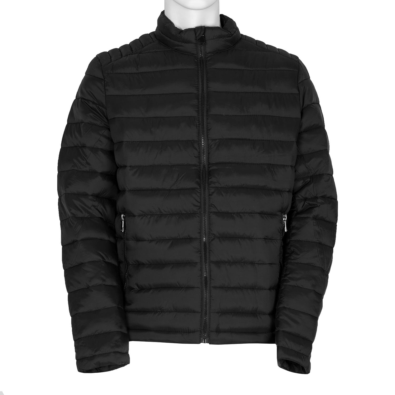 Pánska čierna bunda s prešitím