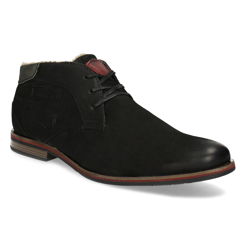 Zimní pánská kožená obuv černá