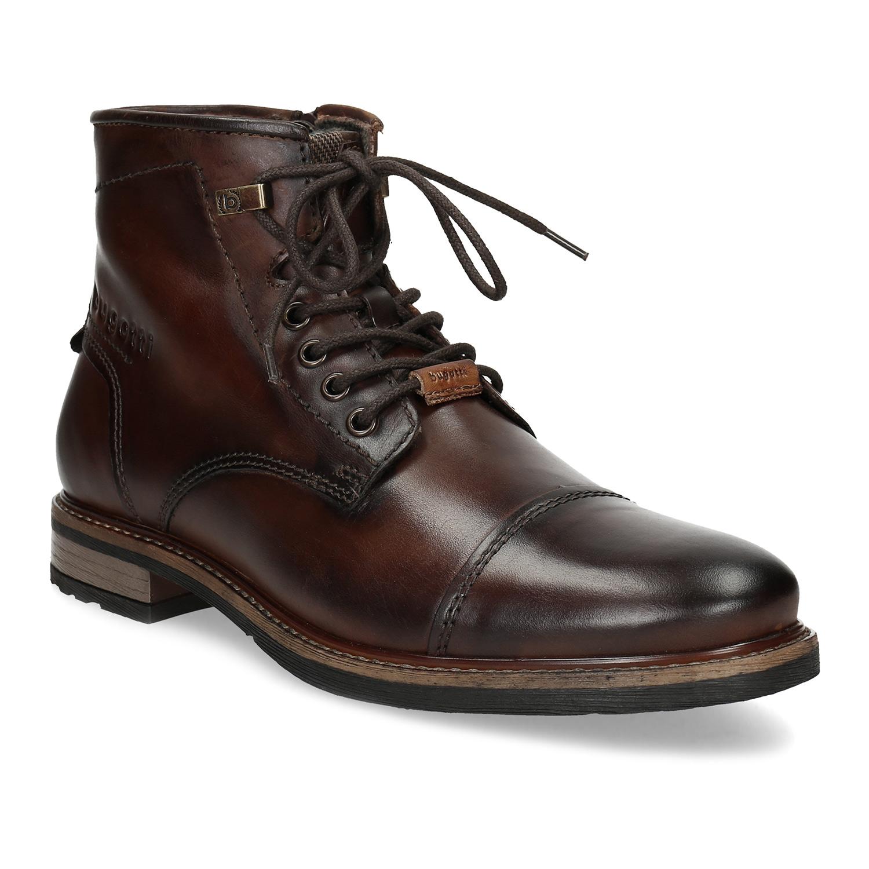 Zimní pánská kotníčková obuv kožená