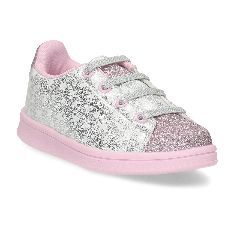 Stříbrné dětské tenisky s růžovými třpytkami