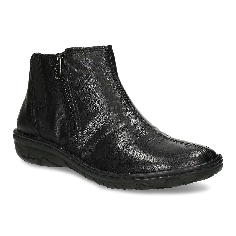 Dámska členková zimná kožená obuv