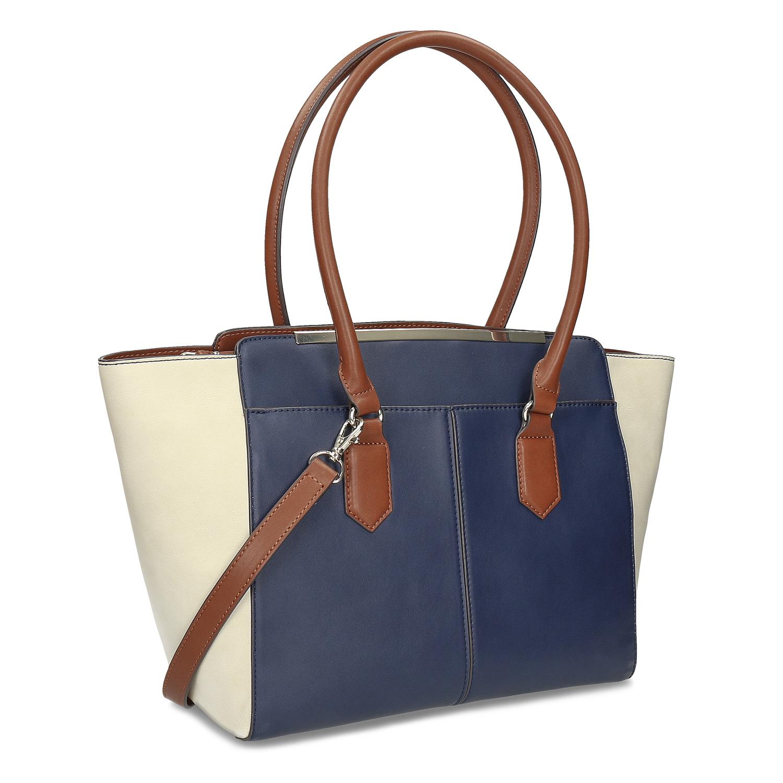 Prostorná modro bílá kabelka