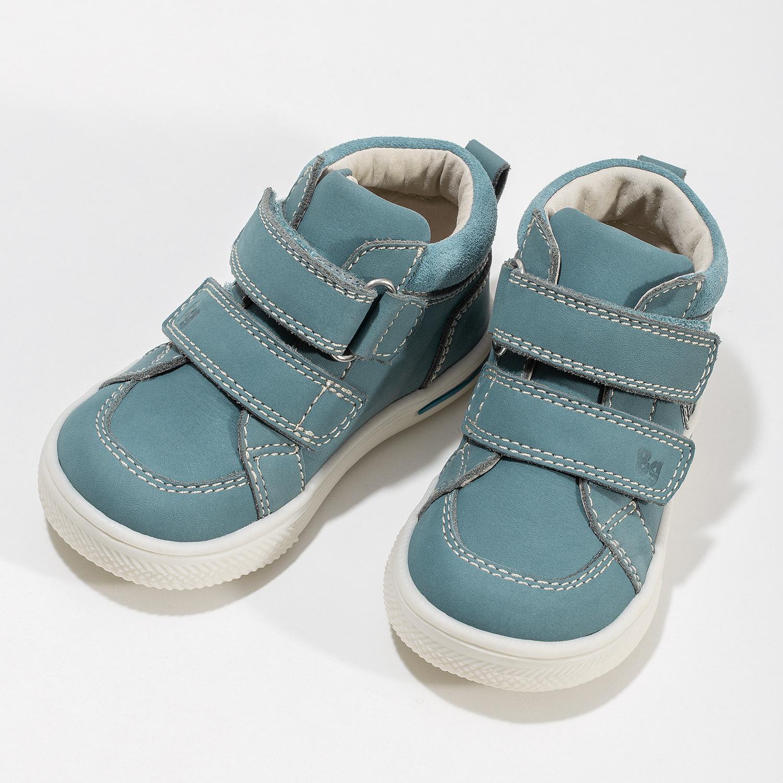 Dětské modré tenisky z broušené kůže