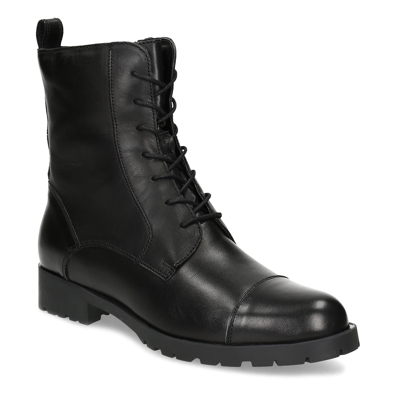 Čierne dámske kožené čižmy