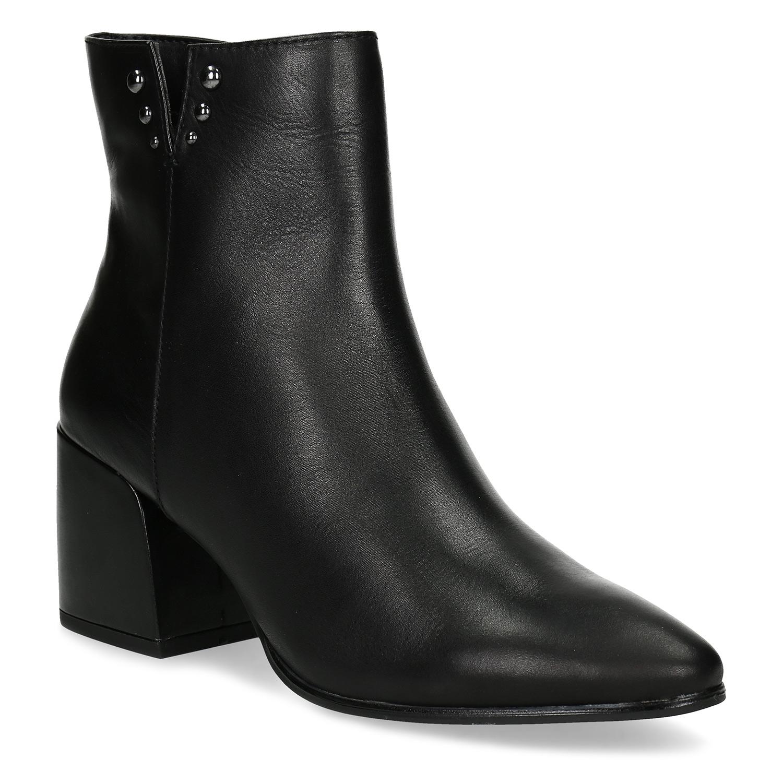 Černá kotníčková kožená obuv na podpatku