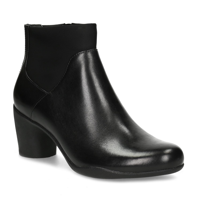 Dámská kožená kotníčková obuv na podpatku