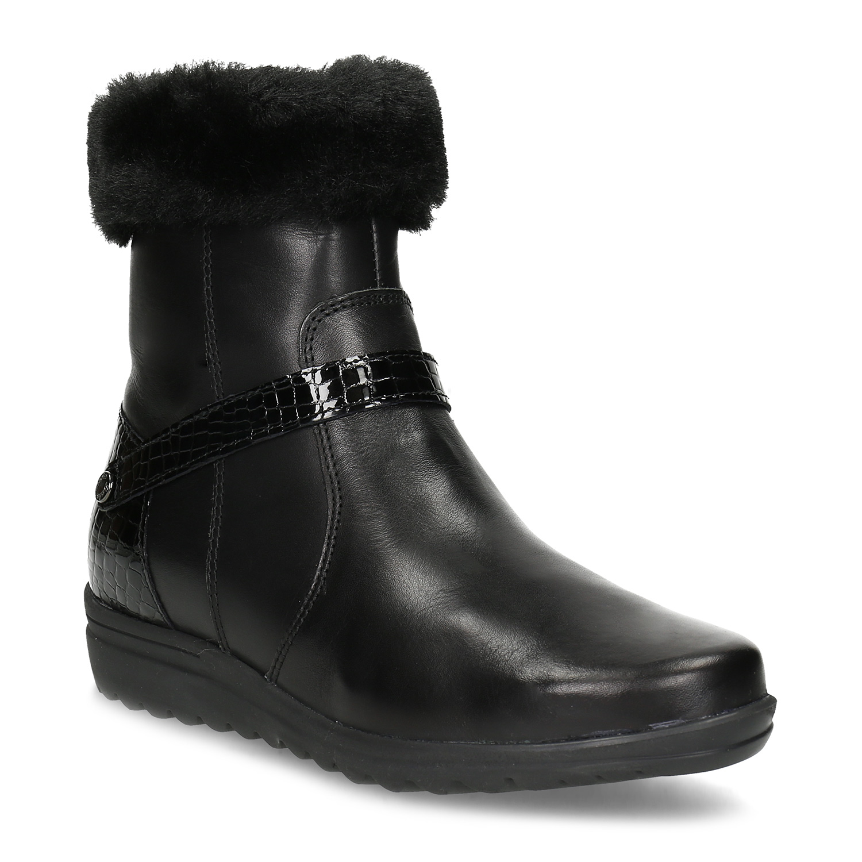 Dámské kožené zimní boty s kožíškem
