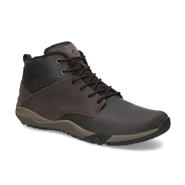Členková hnedá kožená pánska obuv