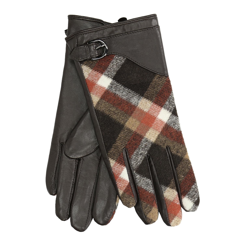 Dámské kožené rukavice kárované hnědé